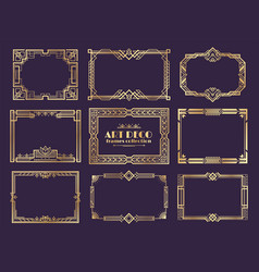 Art deco borders 1920s golden frames nouveau vector