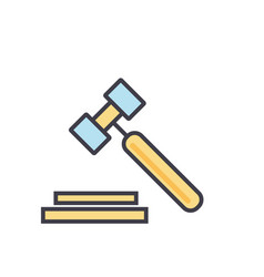 Auction hammer justice law legal court vector