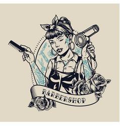 barbershop vintage label vector image