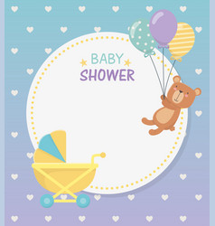 Bashower circular card with bear teddy in baby vector