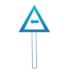 blue silhouette triangle metal notice with turn vector image