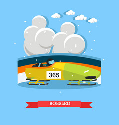 bobsled concept in flat style vector image