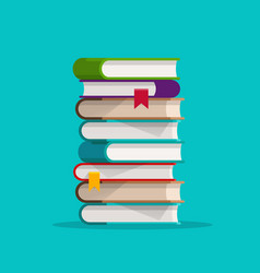 Books stack or pile flat vector