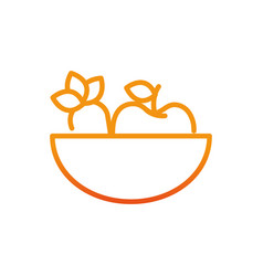 Bowl with healthy food fitness gradient line vector