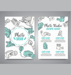 Brochure set with photo and video design in doodle vector