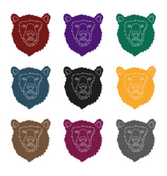 brown bear muzzle icon in black style isolated on vector image