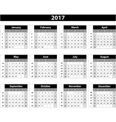 Calendar 2017 on white background vector image