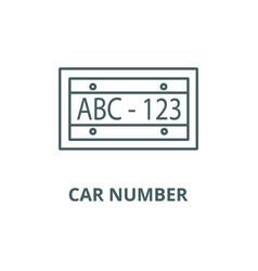 car number line icon car number outline vector image