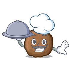 chef with food meatball mascot cartoon style vector image