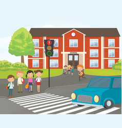 Children wait for a green traffic light signal vector