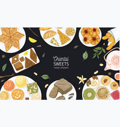Colorful banner template with oriental sweets vector