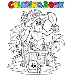 Coloring book with pirate theme 3 vector