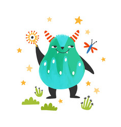 Cute friendly monster alien or beast lovely vector