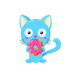 cute funny cartoon cat eating vector image