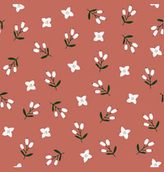 cute red festive winter seamless pattern with hand vector image