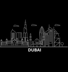 dubai silhouette skyline united arab emirates vector image