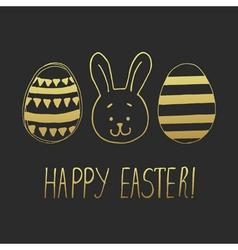 Easter greeting with eggs and bunny face dark vector