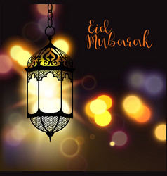 eid mubarak greeting on blurred background with vector image
