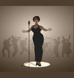 elegant curvy and sexy jazz singer woman singing vector image