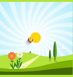 empty meadow with flowers and trees vector image