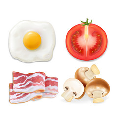 English breakfast with fried eggs bacon tomatoes vector
