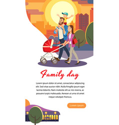 Family day cartoon concept happy parents vector