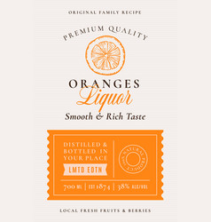 Family recipe oranges liquor acohol label vector
