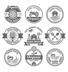 Farm fresh organic products emblems vector