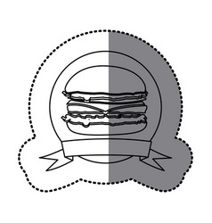 Figure emblem hamburger fast food icon vector