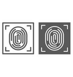 fingerprint line and glyph icon id and security vector image