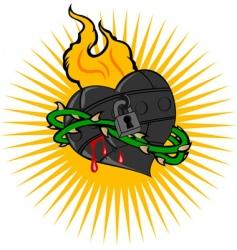 Fire iron heart vector