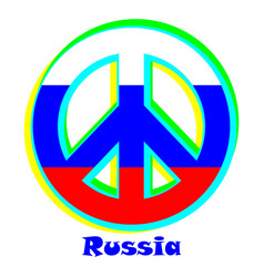 Flag of russia as a sign of pacifism vector