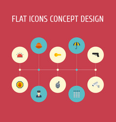 Flat icons policeman keypad walkie-talkie and vector