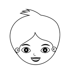 Front face kid silhouette with crest vector