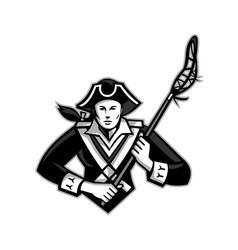 girl patriot lacrosse player mascot vector image