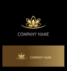 Gold lotus flower logo vector