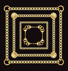 Golden square chains pattern on black background vector