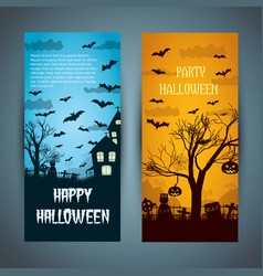 Halloween banners with flying bats vector