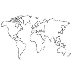 hand drawn world map sketch on white background vector image