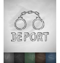Handcuffs DEPORT icon Hand drawn vector