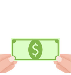 Hands holding green dollar money banknotes vector