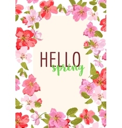 Hello spring Sakura flowers Design for vector image