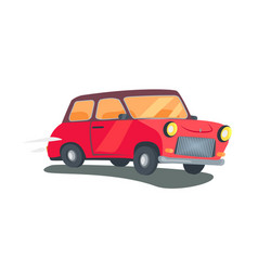 Icon of red retro two-door station wagon vector