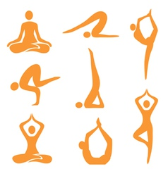 Icons yoga asanas vector image
