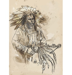 Indian chief holding a peace pipe vector
