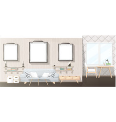 Interior design modern living room with grey sofa vector