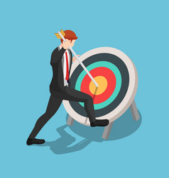 isometric businessman pinned arrow at center vector image