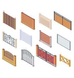 isometric fence gates and farm garden wired vector image