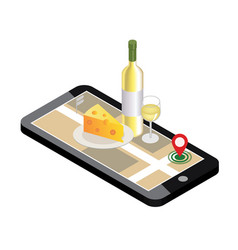 Isometric food delivering looking for bar or vector