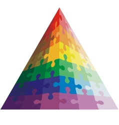 Jigsaw puzzle shape of a triangle colors vector image